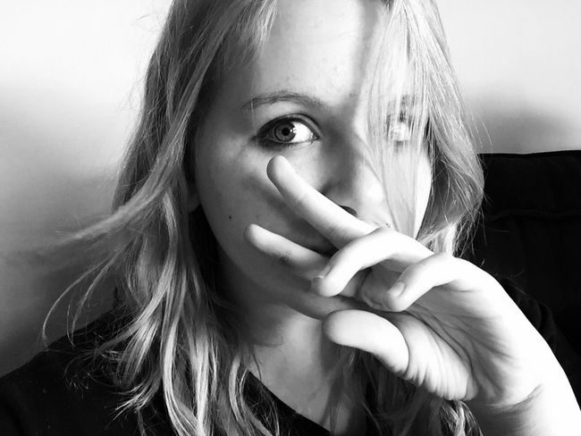 Hannah, my step-daughter, stole my phone and left selfies. This one is pretty good. Blackandwhite Selfportrait
