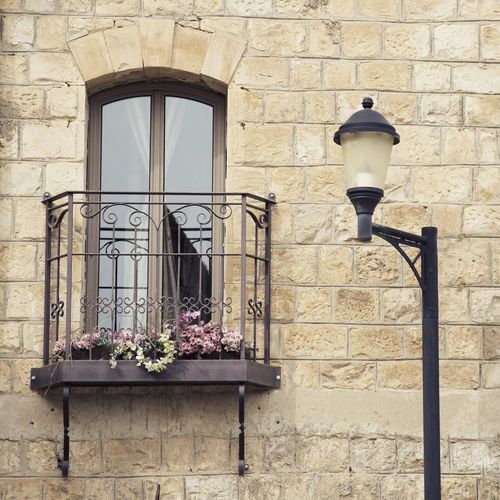Potted plants in balcony by street lamp against wall