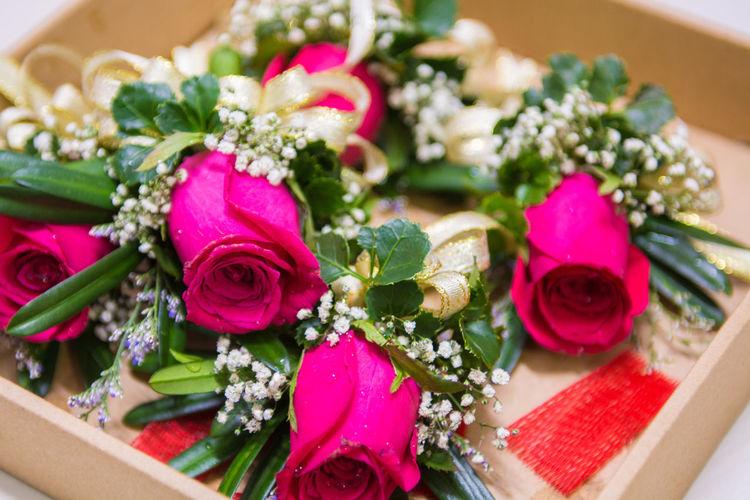 Rose on a box Bouquet Celebration Flower Gift Ribbon - Sewing Item Rose - Flower Wedding Wedding Wedding Ceremony