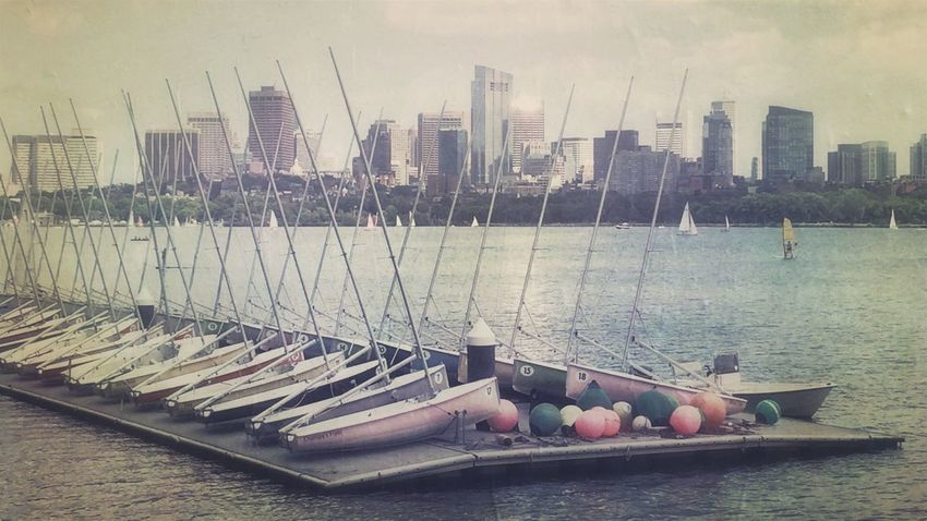 Charles River Boats Riverscape Riverside Cambridge MA Urban Landscape Cityscape Faded Vintage Summer