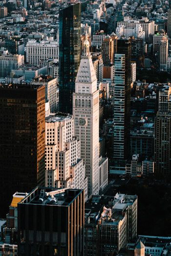 High angle view of buildings in new york city.