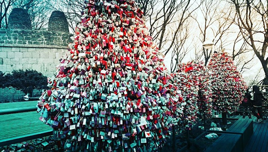 Lovers Hang Keychains Namsan Tower  In Seoul