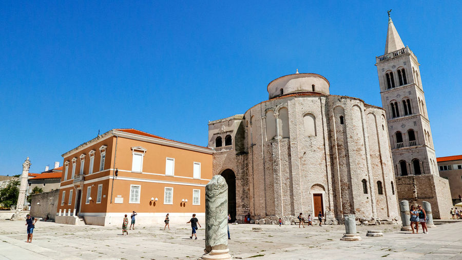 View of historical building against clear blue sky. zadar, square, street.