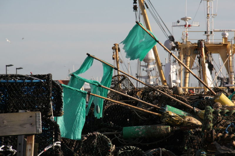Day Drying Fishing Net Nautical Vessel No People Outdoors Whitby Harbour