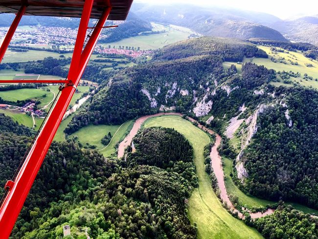 Flying the old lady pPiper PPA18 SSuperCub aAircraft aAircraft Wing aAerial View wWingview NNature sScenics SSchwarzwald nNeckar tTravel Destinations pPilot pPilotlife fFlying aAviation fForest aAirplane
