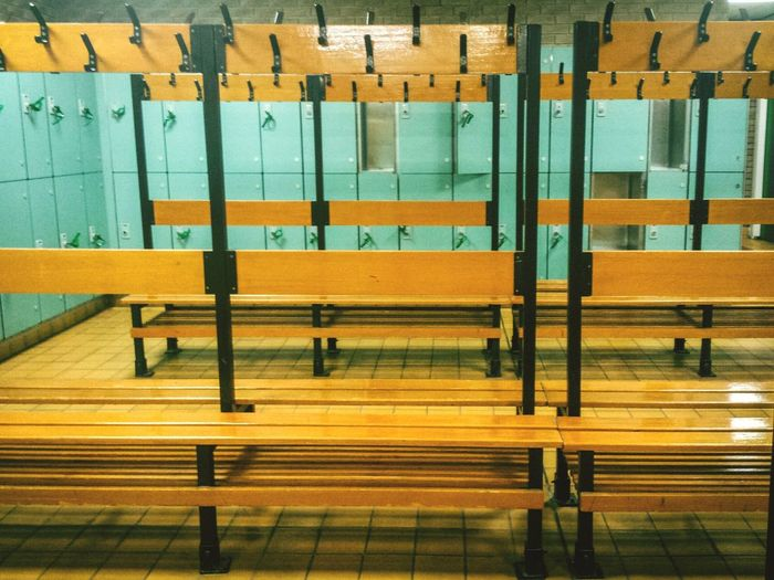 Empty benches in platform