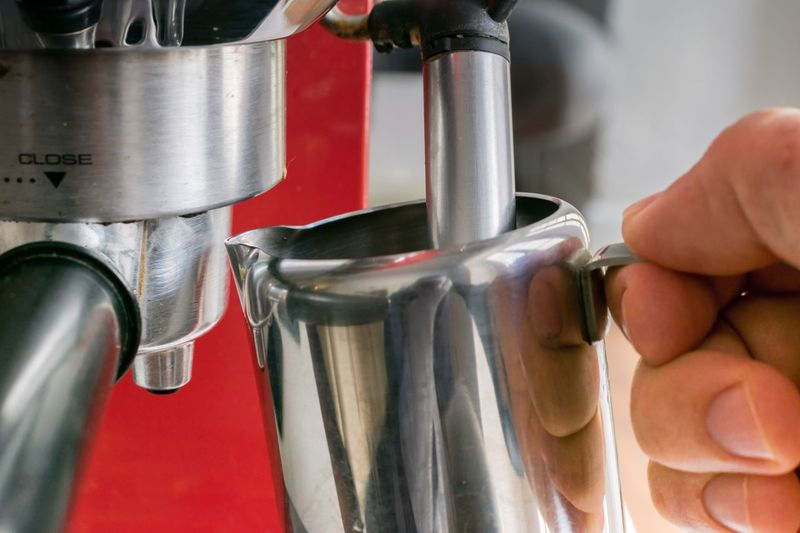 Heating milk Delicious Tasty Aroma Machiatto Machine Machinery Espresso Coffee Maker Coffee Breakfast Heating Milk Coffee Time Cafe EyeEm Selects Hand Human Hand Indoors  Human Body Part Food And Drink Real People Metal Red Holding Lifestyles Finger Food Household Equipment Silver Colored