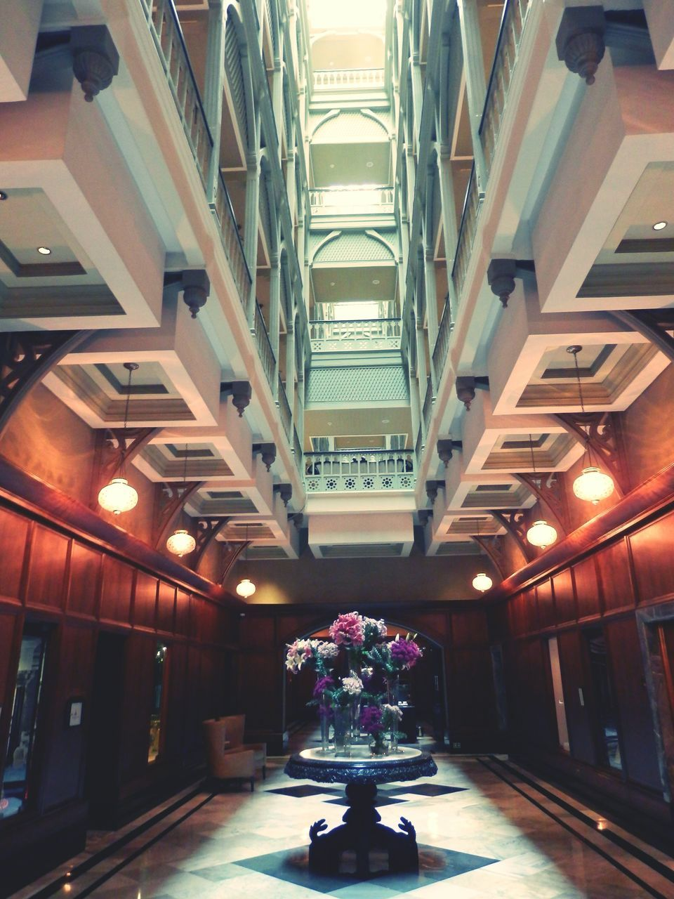 illuminated, indoors, flower, ceiling, the way forward, architecture, no people, day