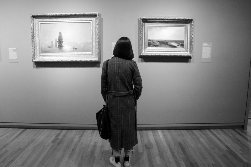 Rear View One Person Women Indoors  Real People Museum Frame Picture Frame Adult Standing Wall - Building Feature Lifestyles Full Length Art Museum Leisure Activity Paintings Illuminated Flooring Exhibition Hairstyle Looking At View Contemplation Seattle Art Museum
