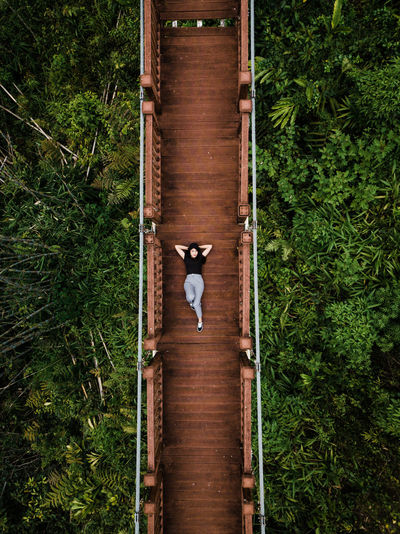 Nature Forest Bridge - Man Made Structure Laying Down Enjoyment Canopy Of Trees Canopy Walk Architecture Outdoors Green Color Day Tree Plant Built Structure Girl Women Young Adult Young Women Ariel View