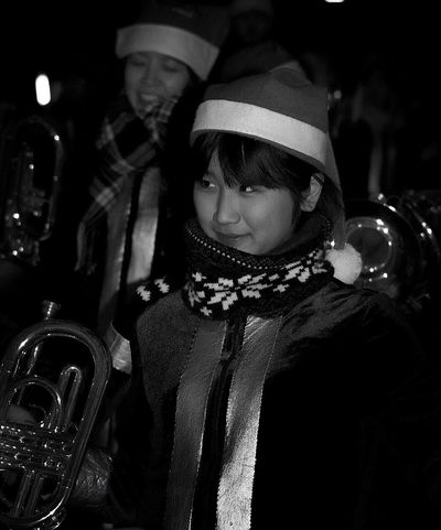 Girls Musician Brass Band Beautiful Girl Girl Black And White Schooltrip Streetphoto_bw Street Photography Japan Photography Japanese Culture Japanese Style Light And Shadow EyeEm Best Shots - Black + White B&w Photography Portrait Monochrome Shades Of Grey B&W Portrait Night Night Photography Nightphotography