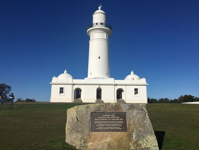 Australia's first lighthouse Architecture Grass Blue Clear Sky Built Structure Outdoors Day Landscape Lighthouse No People Nature Building Exterior Sky