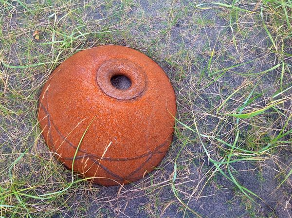 Animal Egg Beauty In Nature Brown Buoy Close-up Day Field Grass Grassy Green Color Ground Growth Iron Natural Pattern Nature No People Orange Color Outdoors Rust Tranquility