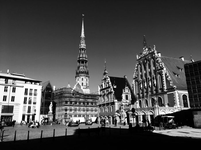 Riga in black'n'white Streetphotography Blackandwhite Latvia Riga City Life Travel Destinations Architecture Clear Sky Street City Building Exterior