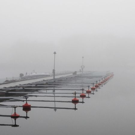 Winter harbour Fog Over Water Calmwater MADE IN SWEDEN Foggy Morning Stockholm Archipelago
