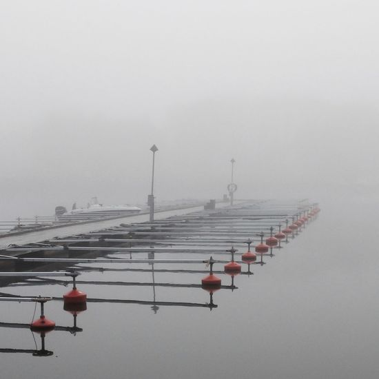 Winter harbour Fog Over Water Calmwater MADE IN SWEDEN Foggy Morning Stockholm Archipelago