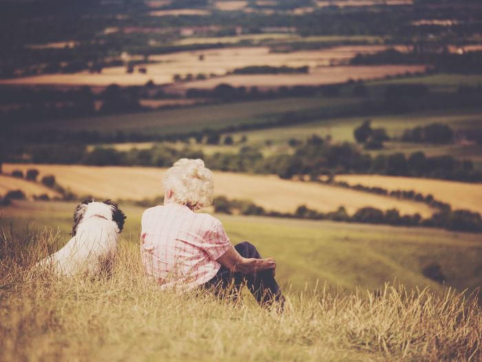 Woman with dog overlooking countryside landscape