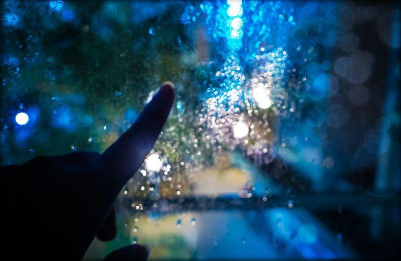 Human Hand Illuminated City Close-up