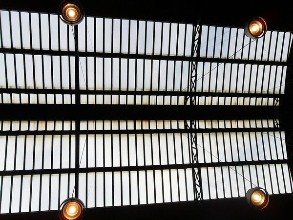 """Ceiling"". Ceiling Ceiling Lights Lamps Tetto Soffitto @ Genova Piazza Principe Train Station Stazione Ferrovie FS Trenitalia Grandi Stazioni Italiane Light And Shadow Lampadario  Iron Glass Architecture Built Structure Pattern Pieces Point And Shoot camera Eyeemfilter"