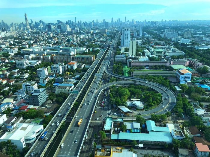 View from 31st floor of Bangkok, Thailand. City Building Exterior Built Structure High Angle View Architecture Cityscape Transportation Sky No People Day Street Building Road Modern Connection Outdoors Office Building Exterior Multiple Lane Highway Skyscraper