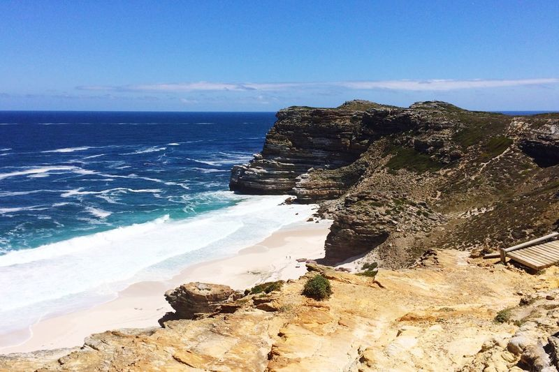 Cape Town South Africa Cape Town Sea Water Beach Land Sky Beauty In Nature Horizon Over Water Scenics - Nature Horizon Nature Tranquility Sunlight Sand Tranquil Scene Blue Motion Rock Day Wave No People