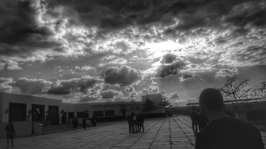 Blackandwhite Cloud - Sky Men Sky Full Length Two People People Outdoors Nature Adult Adults Only Day Real People City Nature Outdoor Dramatic Sky Sky And Clouds Cityscape Beauty In Nature Silhouette Tranquility Capture The Moment Only Men Mobilephotography The Street Photographer - 2017 EyeEm Awards
