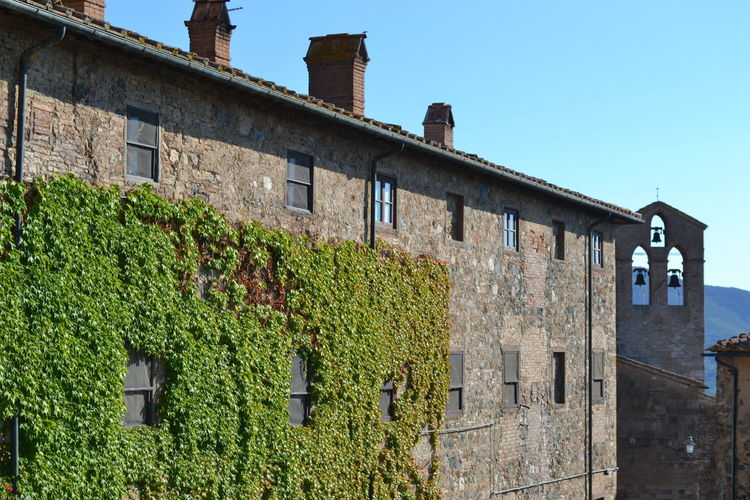Architecture Blue Building Building Exterior Built Structure Day Exterior Glockenturm Grass Green Green Color Growing Growth Low Angle View Nature No People Old Buildings Outdoors Plant Sky Sunny Tuscany