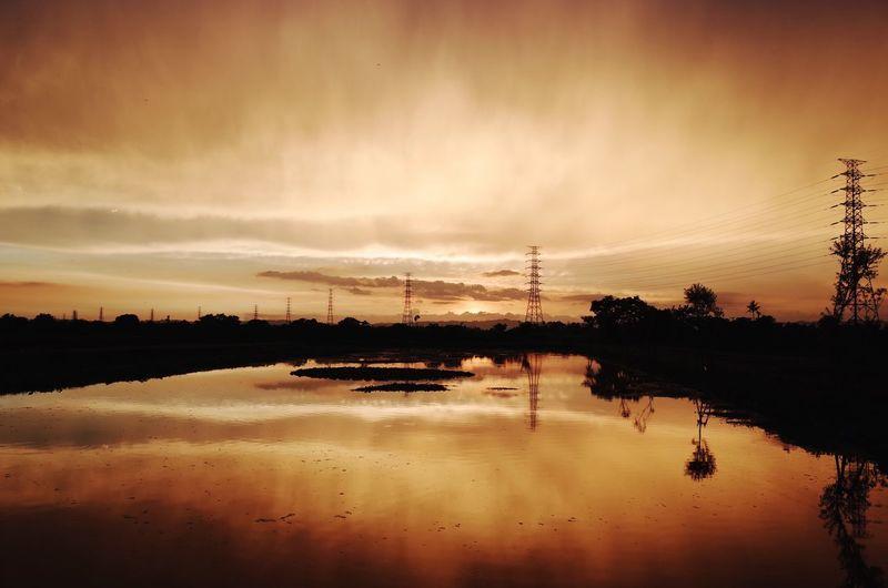 Reflection Electricity Pylon Sunset Cloud - Sky Lake Outdoors