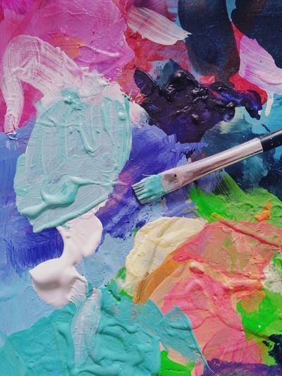 Palette color palette Paints Acrylic Paint Mixing Colors Paintbrush Multi Colored Abstract Full Frame Backgrounds Close-up No People