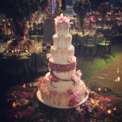 Did live sound at this affair Livesound Weddingcake Cake Wedding Beautiful Pink They had a food fight with this cake after they got married. ...