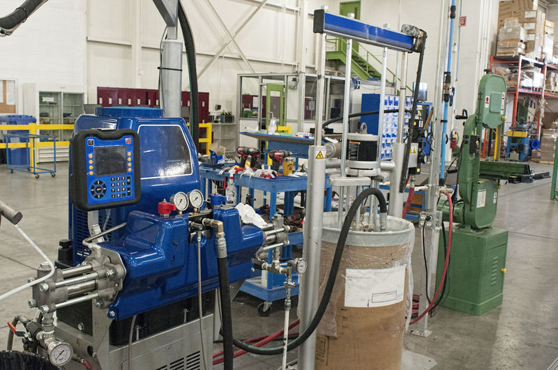 Panoramic view of machinery in factory