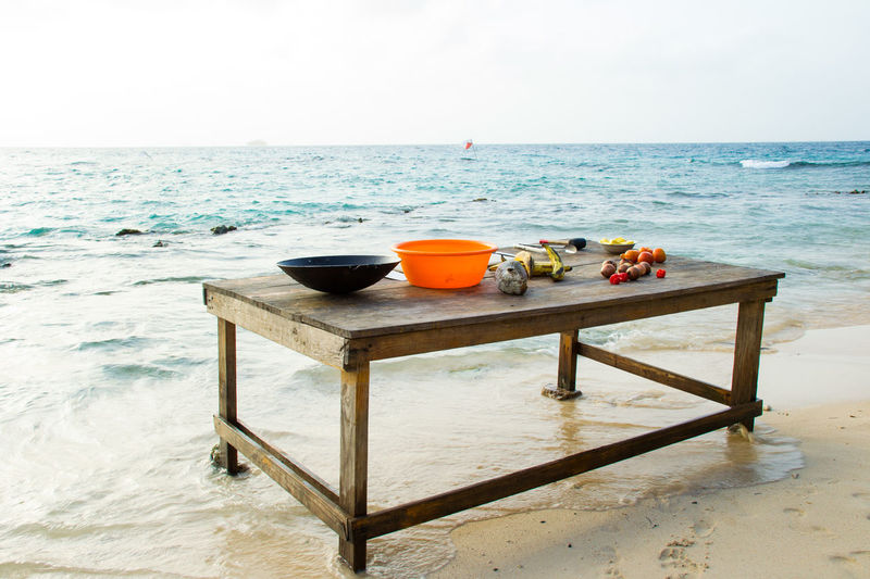 Arrangement Beach By The Sea Cooking Dining Table Exotic Fruits And Vegetables Horizon Over Water Island Life Islands Panamá San Blas Sea Summer Sunset Table Tropical Climate Vacations Vegetables