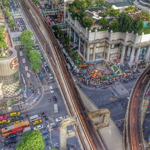 People And Places Intersection Road Mode Of Transport Architecture City High Angle View Transportation Journey City Life Aerial View Building Exterior Skytrainbangkok Thai Thailand Thailand Photos