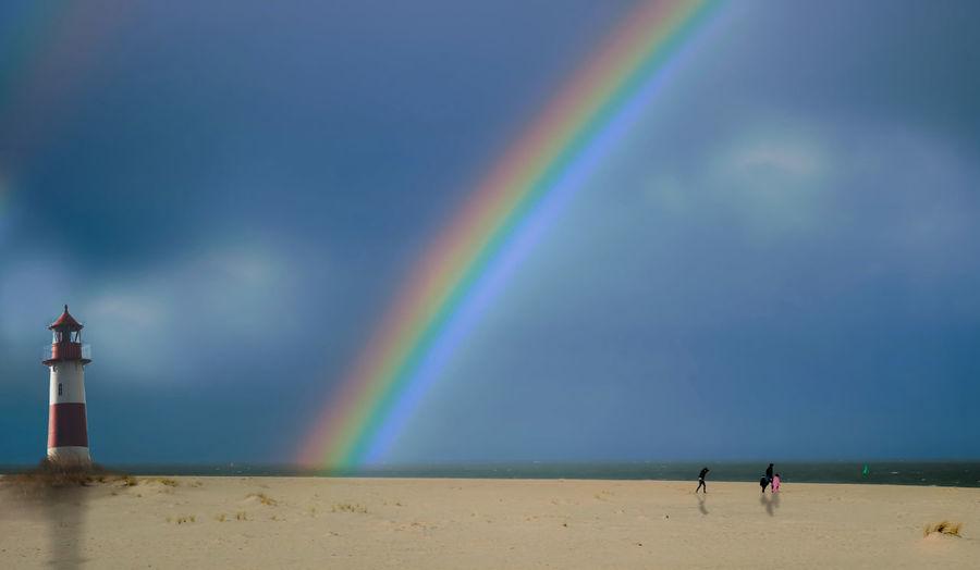 Lighthouse Storm Beach Beauty In Nature Horizon Over Water North Sea Outdoors Rainbow Sand Scenics Sea Sky