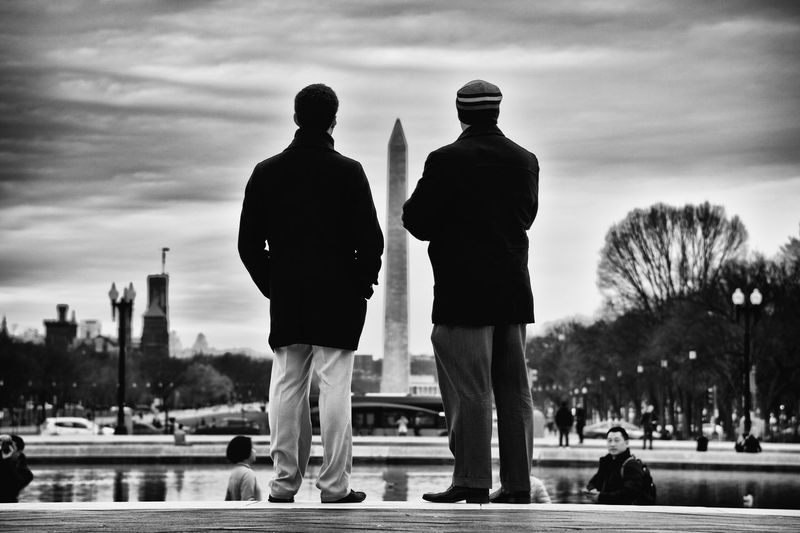 Nikon D810 Washington Monument Washington, D. C. Adult Architecture Cloud - Sky Day High Contrast High Contrast Bnw Men Monochrome Outdoors Rear View Reflecting Togetherness Two People Contemplating Contemplation Black And White Friday