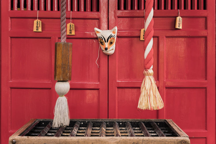 Small shinto santuary dedicated to the fox inari the divinity of rice.