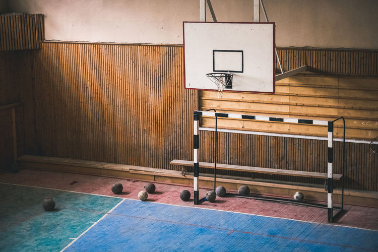 Basketball hoop in gym