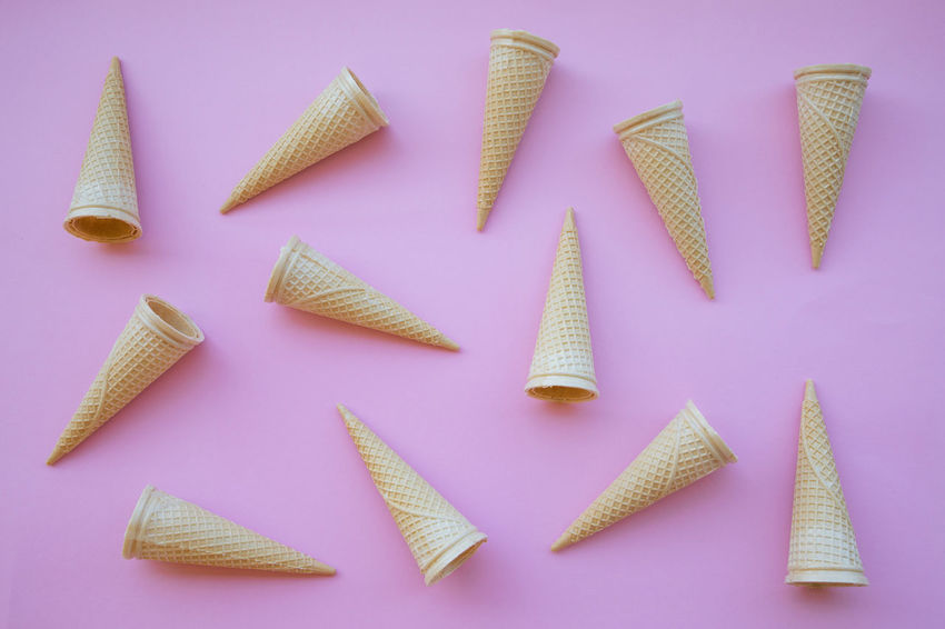 Art And Craft Blue Background Choice Colored Background Cone Creativity Food Food And Drink High Angle View Horn Ice Cream Indoors  Knolling - Concept Large Group Of Objects Multi Colored No People Pink Background Pink Color Still Life Studio Shot Thread Variation