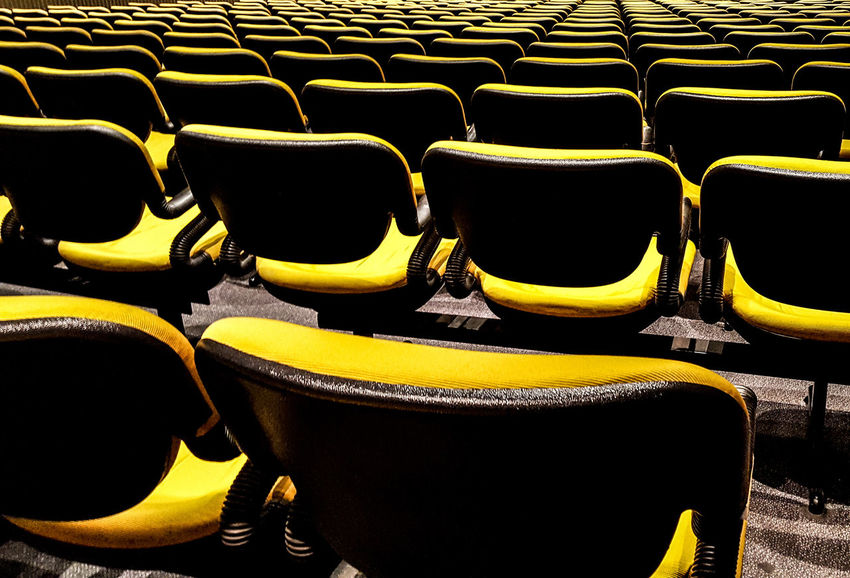 Chair In A Row Full Frame Seat No People Indoors  Large Group Of Objects Arrangement Backgrounds Day Close-up Juanmogor Artistic Photo Yellow Color Paint The Town Yellow