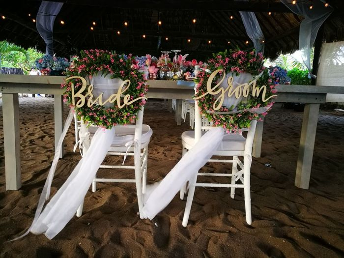 Chair Celebration Table No People Flower Indoors  Day Wedding Welcome Table Beach Wedding Reception Floral Arrangement Wedding Reception Wedding Decoration Bride & Groom Decoration Let's Go. Together.