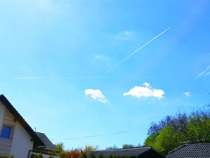 Airshow Airplane Outdoors Cross Crossing Paths Sign Blue Eye4photography  Eyem Vision White Stripe