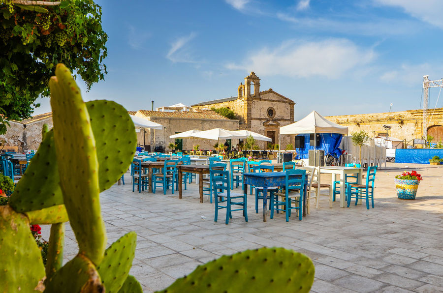 Blue Chairs Curch Fichidindia Marzamemi Old Town Outdoors Sicily