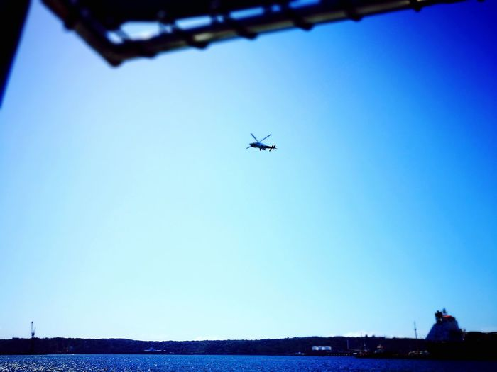 Clear Sky Sea Helicopter No People Ameteur Durban South Africa Harbour Landing Blue Sky