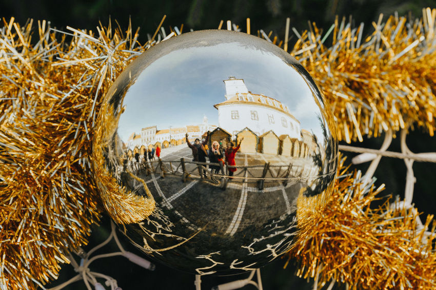 Hello. Reflection People Christmas Decoration Chrismas Lights Christmas Market Christmas Ornament Christmas Bauble City Close-up Sky Architecture Settlement Historic Urban Scene Cityscape Holiday Moments