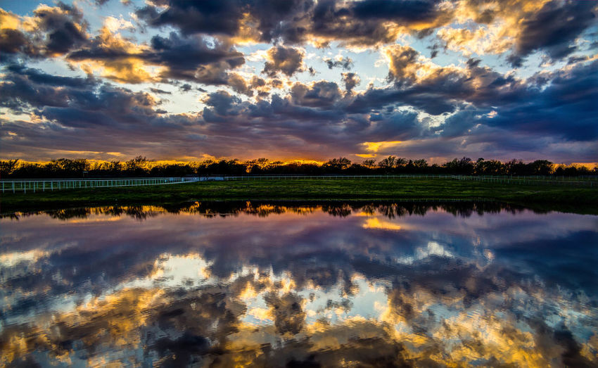 Blue Sky Clouds And Sky Colors Of Autumn Reflections Reflections In The Water Sunset Sunsets Water Water Reflections
