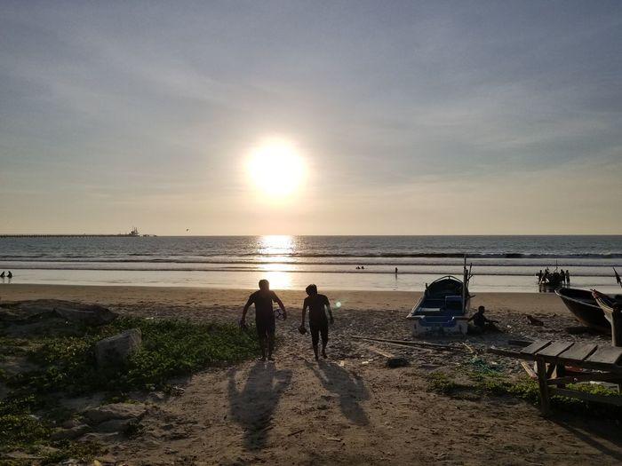Water Sea Low Tide Beach Sunset Sand Sunlight Sand Pail And Shovel Salt - Mineral Sun First Eyeem Photo