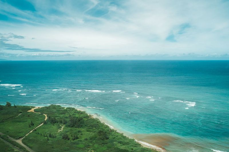 View from above on Maui Aerial View Hawaii Maui Beach Tranquility Horizon Over Water Tranquil Scene Beauty In Nature Idyllic Nature Outdoors Blue Day No People Travel Turquoise Colored Horizon Water Scenics - Nature