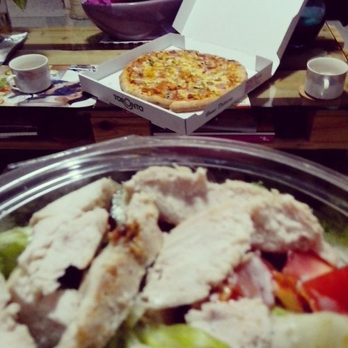 Midnight snack while movies Caesarsalad Pizza Movies Cyprus withlove yummy