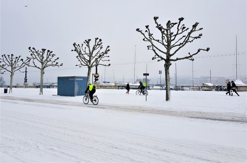 Bicycle parked on snow covered street in city
