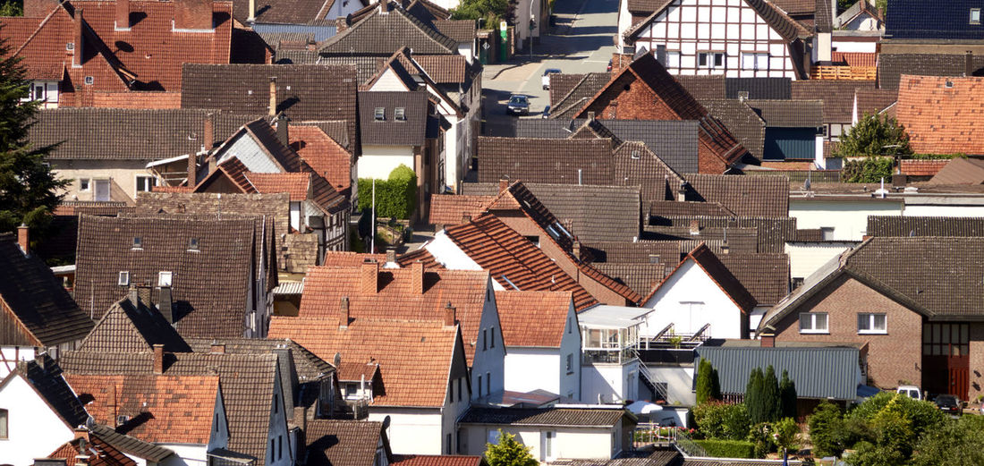 Aerial view from the roofs of the closely standing houses of a german village
